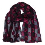 crepe silk devore scarf blackred