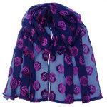 crepe silk devore scarf navypurple