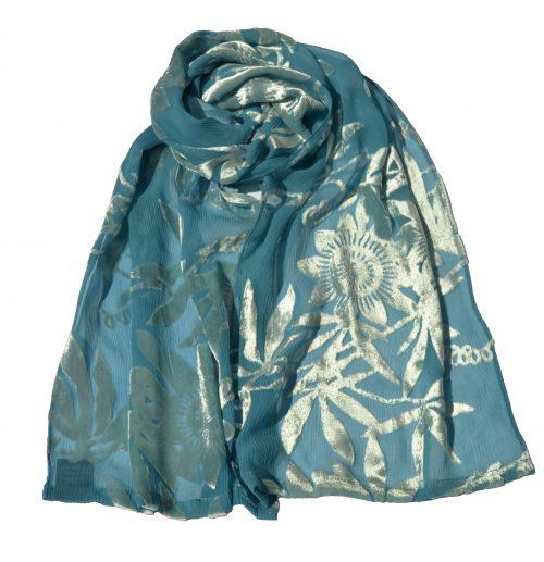 crepe silk devore passionflower aqua