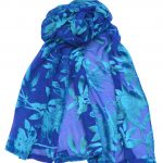 crepe silk devore passionflower royalturquoise
